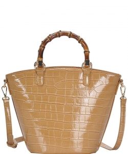Cute Glossy Snake Pattern Tote Bag BGS-88060 CAMEL