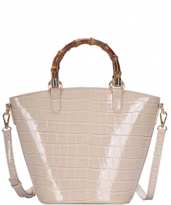 Cute Glossy Snake Pattern Tote Bag BGS-88060 CREAM