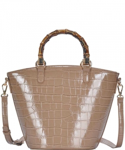 Cute Glossy Snake Pattern Tote Bag BGS-88060 TAUPE