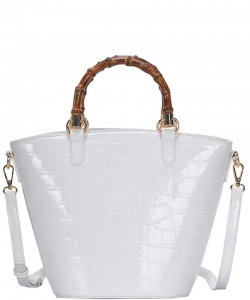 Cute Glossy Snake Pattern Tote Bag BGS-88060 WHITE