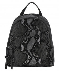 Snakeskin Print Fashion Backpack BGS83820 BLACK