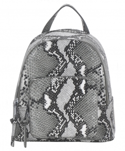 Snakeskin Print Fashion Backpack BGS83820 GREY