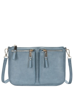 Fashion Front Double Zip Pocket Cross Body BGT-48420 BLUE