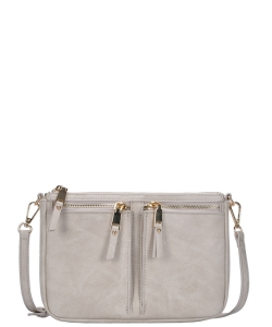 Fashion Front Double Zip Pocket Cross Body BGT-48420 BONE