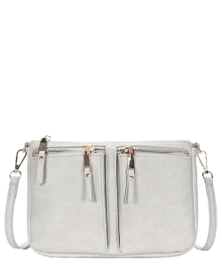 Fashion Front Double Zip Pocket Cross Body BGT-48420 GRAY