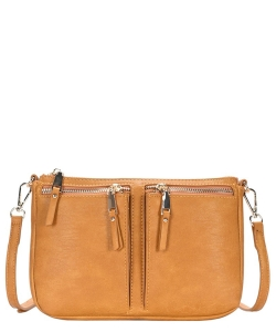 Fashion Front Double Zip Pocket Cross Body BGT-48420 HONEY