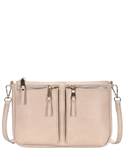 Fashion Front Double Zip Pocket Cross Body BGT-48420 LIGHT TAUPE
