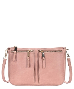 Fashion Front Double Zip Pocket Cross Body BGT-48420 MAUVE