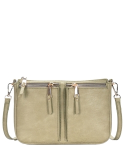Fashion Front Double Zip Pocket Cross Body BGT-48420 SAGE