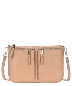 Fashion Front Double Zip Pocket Cross Body BGT-48420 SAND
