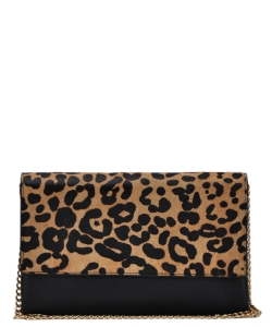 Leopard Print Clutch bag with Chain BGW-81305