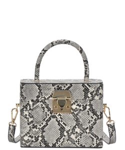 Box Satchel Handbag  BGW-81347 BLACK Snake