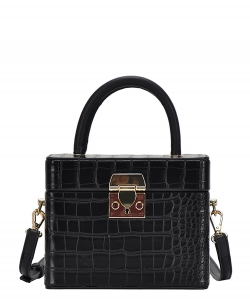 Box Satchel Handbag  BGW-81347 BLACK
