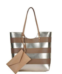 2 In1 Modern Striped Fashion Tote Bag BGW-81960 NUDE