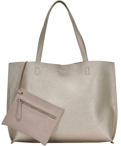 Reversible Soft Faux Leather Tote Bag BGW2079 GOLD