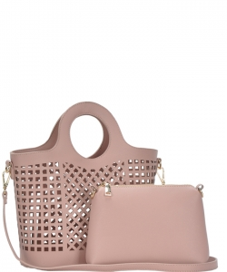Fashion Laser Cut Tote Bag BGW82604 BLUSH