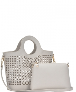 Fashion Laser Cut Tote Bag BGW82604 BONE
