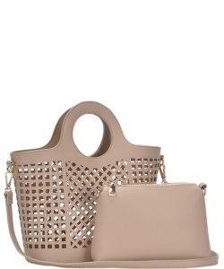 Fashion Laser Cut Tote Bag BGW82604 TAUPE