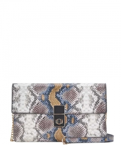 New Fashion Snake Skin Clutch Crossbody Bag BGW84740 Multi