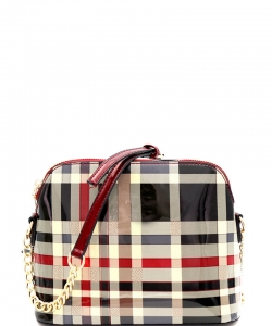 Plaid Check Dome-Shaped Crossbody Bag BGZT6994 RED