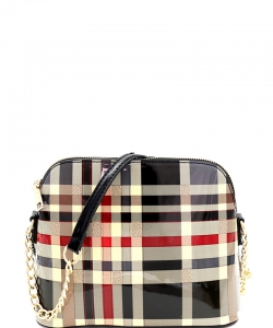 Plaid Check Dome-Shaped Crossbody Bag BGZT6994 BLACK