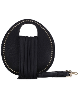 Stud Embellished Fringed Round Satchel w/ Strap BJ5612 BLACK