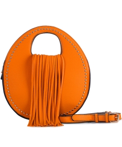 Stud Embellished Fringed Round Satchel w/ Strap BJ5612 ORANGE