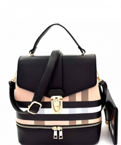 Plaid Checker 2 In 1 Convertible Backpack Satchel BL1045as BLACK