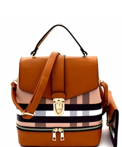 Plaid Checker 2 In 1 Convertible Backpack Satchel BL1045as BROWN