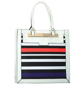 Striped Faux Leather Tote Shoulder Handbag T1535 37870 Black/ White