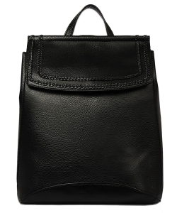 Soft Faux Leather Fashion Backpack BP1778 BLACK