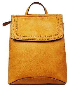 Soft Faux Leather Fashion Backpack BP1778 MUSTARD