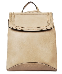 Soft Faux Leather Fashion Backpack BP1778 TAUPE