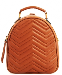 Cute Chevron Stitched Backpack BP6436 BROWN