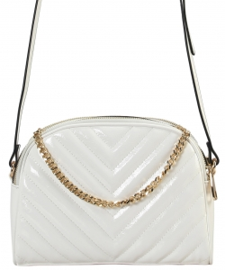 Cute Chevron Stitched Crossbody Bag BR7099 WHITE