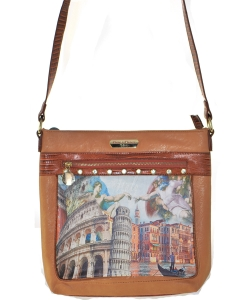Bora Bora USA Cross Body Fashion Print Purse Handbag BROWN