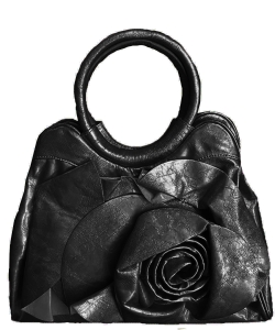 Women's Flower Leather Top-Handle bag BS11666 BLACK