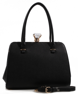 Fashion Jewel Button Clasp Closure Bag BS1645 BLACK