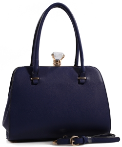 Fashion Jewel Button Clasp Closure Bag BS1645 NAVY