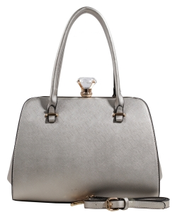 Fashion Jewel Button Clasp Closure Bag BS1645 SILVER