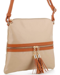 Nylon Crossbody Bag with Tassel BS2408 BIEGE/BROWN