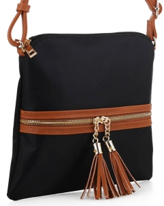 Nylon Crossbody Bag with Tassel BS2408 BLACK/BROWN