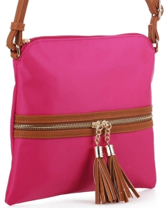 Nylon Crossbody Bag with Tassel BS2408 FUSHIA/BROWN