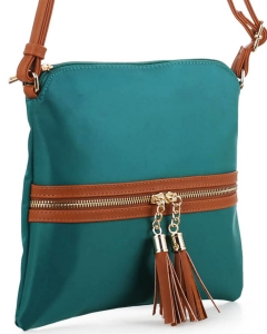 Nylon Crossbody Bag with Tassel BS2408 GREEN/BROWN