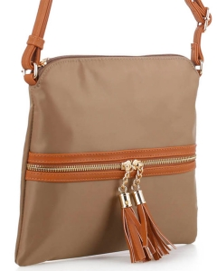 Nylon Crossbody Bag with Tassel BS2408 KHAKI/BROWN