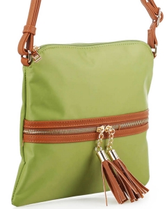 Nylon Crossbody Bag with Tassel BS2408 LGREEN/BROWN