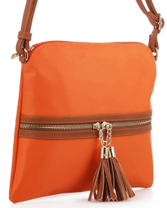 Nylon Crossbody Bag with Tassel BS2408 ORANGE/BROWN