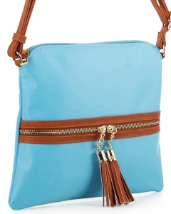 Nylon Crossbody Bag with Tassel BS2408 SBLUE/BROWN
