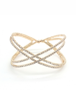 Criss Cross Rhinestone Bracelet  BS300042 GOLD CL