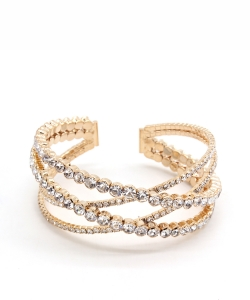 Criss Cross Rhinestone Bracelet BS300054 GOLD CL